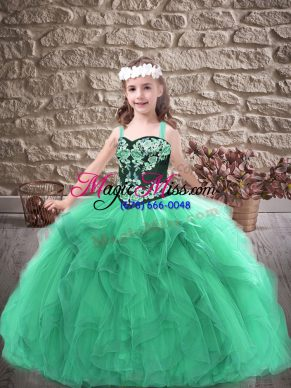 Fashion Tulle Sleeveless Floor Length Kids Formal Wear and Embroidery and Ruffles