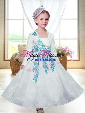 Admirable White A-line Embroidery Toddler Flower Girl Dress Zipper Lace Sleeveless Ankle Length