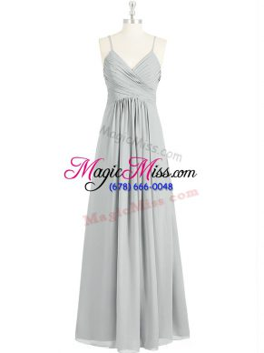 Sleeveless Backless Floor Length Ruching Prom Gown