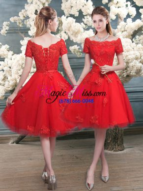 Extravagant Red Tulle Lace Up Off The Shoulder Short Sleeves Knee Length Prom Party Dress Lace