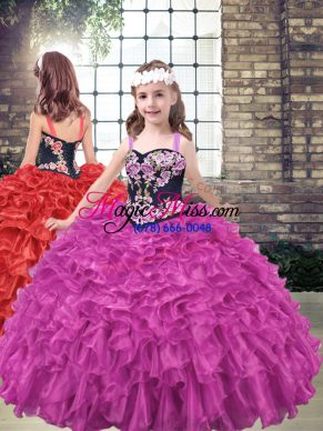 Fuchsia Lace Up Straps Embroidery and Ruffled Layers Kids Pageant Dress Organza Sleeveless