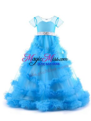 V-neck Short Sleeves Backless Little Girl Pageant Gowns Baby Blue Tulle