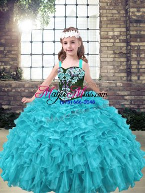 Aqua Blue and Turquoise Pageant Dress for Teens Party and Wedding Party with Embroidery and Ruffles Straps Sleeveless Lace Up