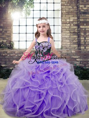 Eye-catching Lavender Kids Pageant Dress Party and Wedding Party with Embroidery and Ruffles Straps Sleeveless Lace Up
