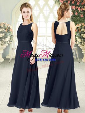 New Style Black Chiffon Zipper Prom Dress Sleeveless Ankle Length Ruching
