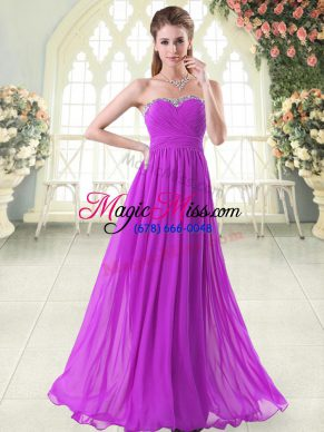 Purple Sleeveless Beading Floor Length Prom Evening Gown