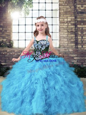 Cheap Baby Blue Straps Neckline Embroidery and Ruffles Kids Formal Wear Sleeveless Lace Up