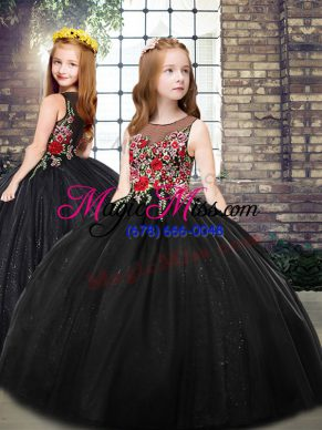 Scoop Sleeveless Pageant Gowns For Girls Floor Length Embroidery Black Tulle