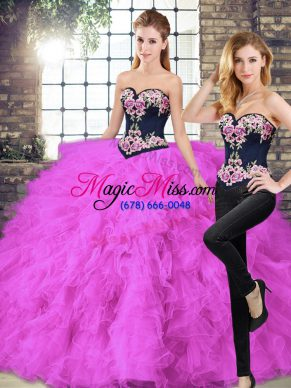Lovely Sweetheart Sleeveless Tulle Quince Ball Gowns Beading and Embroidery Lace Up