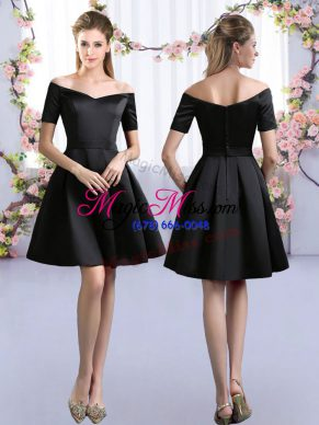 Black Short Sleeves Satin Zipper Bridesmaids Dress for Prom and Party and Wedding Party