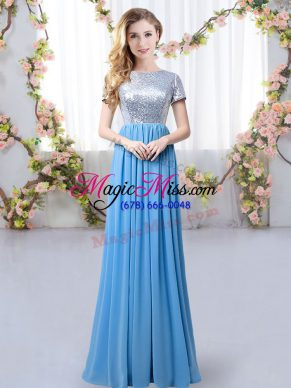 Romantic Blue Empire Scoop Short Sleeves Chiffon Floor Length Zipper Sequins Bridesmaid Gown