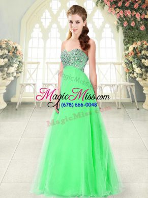 Flirting Sweetheart Sleeveless Lace Up Dress for Prom Green Tulle