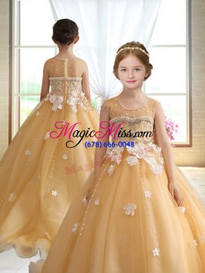 Gold Scoop Neckline Beading and Appliques Kids Formal Wear Sleeveless Zipper