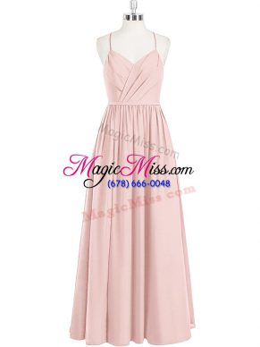Eye-catching Pink Sleeveless Floor Length Ruching Criss Cross Prom Evening Gown