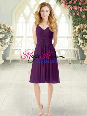 Trendy Purple Empire Chiffon Straps Sleeveless Ruching Knee Length Zipper Prom Party Dress