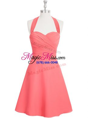 Sophisticated Watermelon Red A-line Halter Top Sleeveless Chiffon Mini Length Zipper Ruching Prom Dress