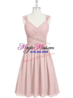 Flare Pink Straps Neckline Ruching Prom Dress Sleeveless Lace Up