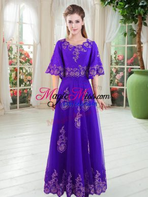 Customized Purple Tulle Lace Up Evening Dress Half Sleeves Floor Length Lace
