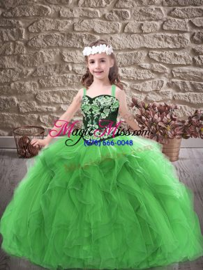 Sleeveless Floor Length Embroidery and Ruffles Lace Up Child Pageant Dress with Green