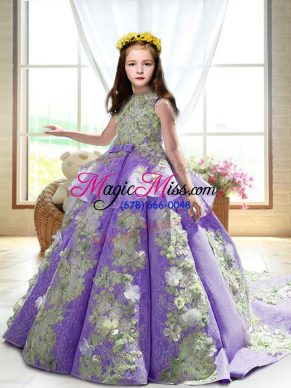 High-neck Sleeveless Court Train Backless Pageant Dress Wholesale Lavender Satin