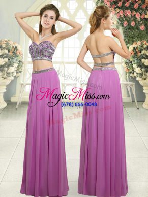 Luxurious Lilac Chiffon Backless Prom Gown Sleeveless Floor Length Beading