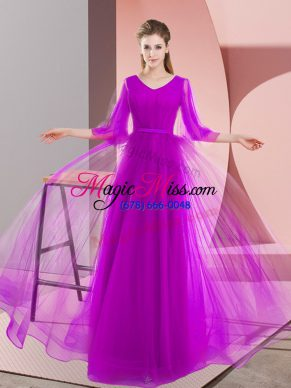 Floor Length Lace Up Prom Evening Gown Purple for Prom and Party with Beading