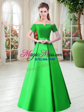Green Lace Up Off The Shoulder Belt Evening Dress Satin Short Sleeves