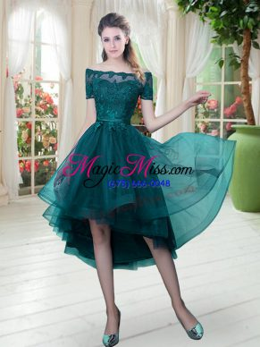 Flare Peacock Green Short Sleeves Lace High Low Dress for Prom