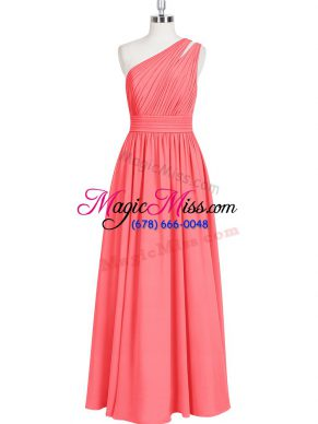 Red A-line Chiffon One Shoulder Sleeveless Ruching Floor Length Zipper Prom Dresses