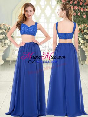 Straps Sleeveless Zipper Dress for Prom Royal Blue Chiffon