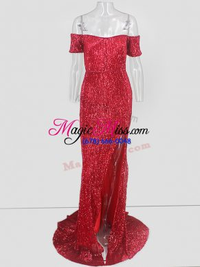 Elegant Off The Shoulder Short Sleeves Sweep Train Sequins Prom Evening Gown in Red
