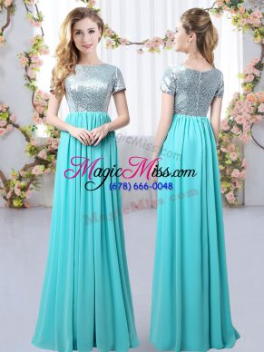 Discount Short Sleeves Floor Length Sequins Zipper Court Dresses for Sweet 16 with Aqua Blue