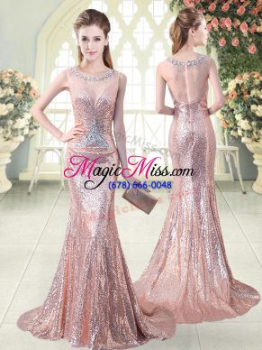 Sweet Scoop Sleeveless Prom Dresses Brush Train Beading Pink Sequined