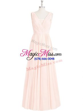 Sumptuous Pink Zipper V-neck Lace Prom Gown Chiffon Sleeveless