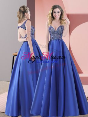 Extravagant Straps Sleeveless Satin Prom Gown Beading Sweep Train Backless