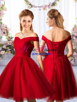 Most Popular Red Tulle Lace Up Off The Shoulder Sleeveless Knee Length Damas Dress Ruching