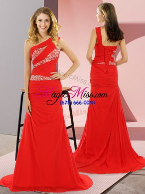 Red Prom Dress Prom and Party and Military Ball with Beading One Shoulder Sleeveless Sweep Train Lace Up