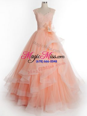 Luxury Peach Tulle Lace Up Straps Sleeveless Floor Length Quinceanera Dress Ruffles