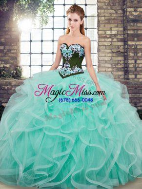 Sweetheart Sleeveless 15th Birthday Dress Sweep Train Embroidery and Ruffles Aqua Blue Tulle