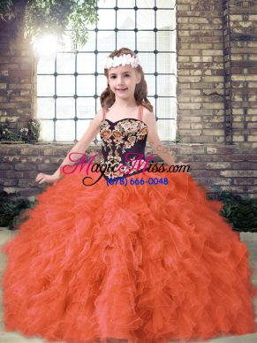 Superior Sleeveless Tulle Floor Length Lace Up Child Pageant Dress in Orange Red with Embroidery and Ruffles