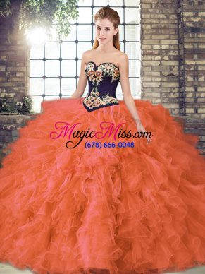 Orange Red Lace Up Vestidos de Quinceanera Beading and Embroidery Sleeveless Floor Length