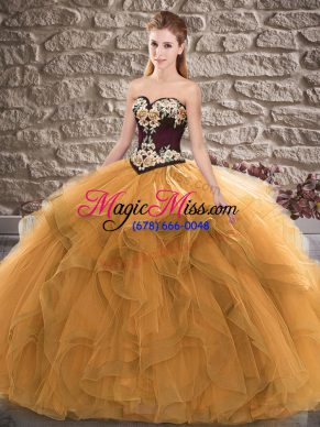 Designer Orange Sleeveless Beading and Embroidery Floor Length Quince Ball Gowns