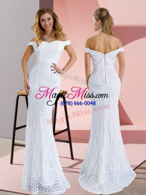Suitable Off The Shoulder Sleeveless Sweep Train Zipper Ruching Prom Evening Gown in White