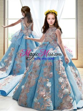 Ball Gowns Sleeveless Blue Little Girls Pageant Dress Wholesale Court Train Backless