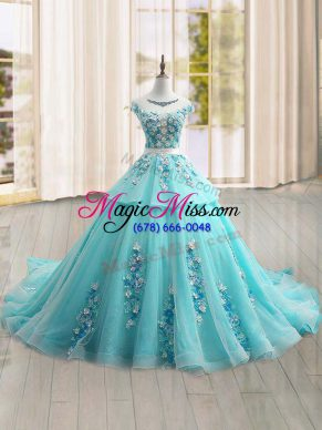 Custom Designed Cap Sleeves Brush Train Appliques Lace Up Quinceanera Dress