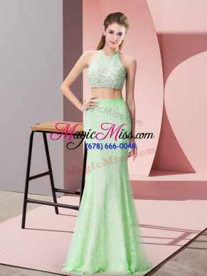 Simple Halter Top Sleeveless Lace Formal Evening Gowns Beading and Lace Backless