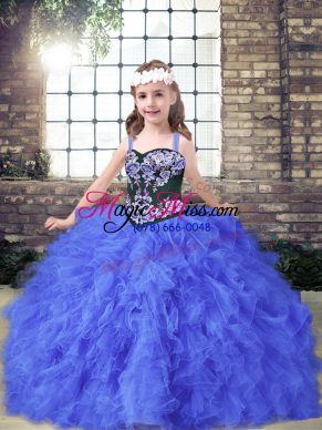 Blue Kids Pageant Dress Party and Wedding Party with Embroidery and Ruffles Straps Sleeveless Lace Up