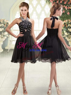 Sleeveless Lace Up Mini Length Beading Prom Party Dress
