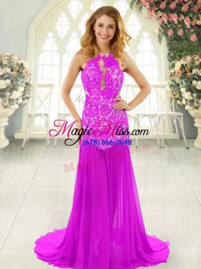 Hot Sale Pink Backless Evening Dress Lace Sleeveless Brush Train