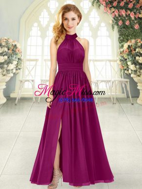 Elegant Burgundy Prom Dresses Prom and Party with Ruching Halter Top Sleeveless Zipper